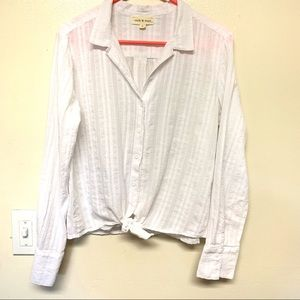 Cloth & Stone White Button Down Tie Front Top S
